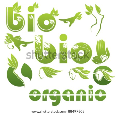 collection of ecological symbols and symbols of beauty and care - stock vector