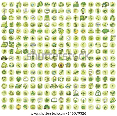 Collection of 256 ecology doodled icons (vignette) with shadows, on background, in colours. Individual illustrations are isolated and in eps10 vector mode. - stock vector
