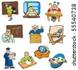 Collection of education cartoons, students, teachers and objects, vector illustration - stock photo