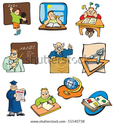 Collection of education cartoons, students, teachers and objects, vector illustration - stock vector