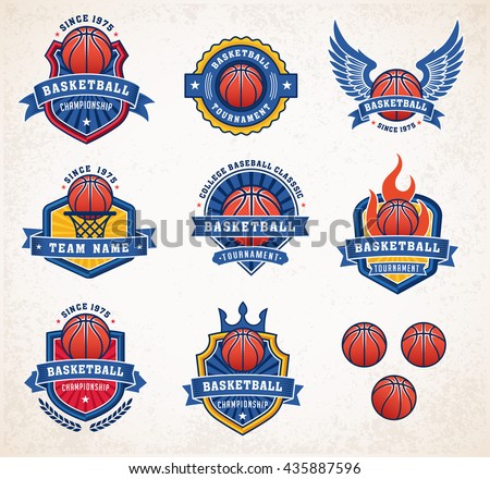 Collection of eight colorful Vector Basketball logo and insignias - stock vector