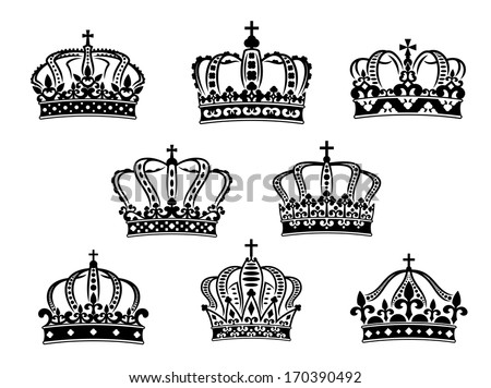 Collection of eight vintage heraldic royal crowns logo of different ornate shapes and calligraphic designs in black on a white background. Rasterized version also available in gallery - stock vector