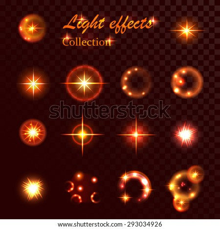 Collection of element light and spark effect - stock vector