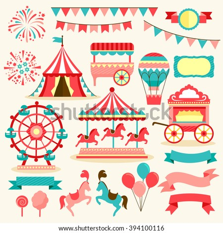 collection of elements related to carnival and circus - stock vector