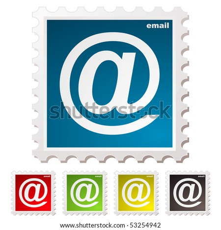 Collection of email stamps with colour variation concept - stock vector