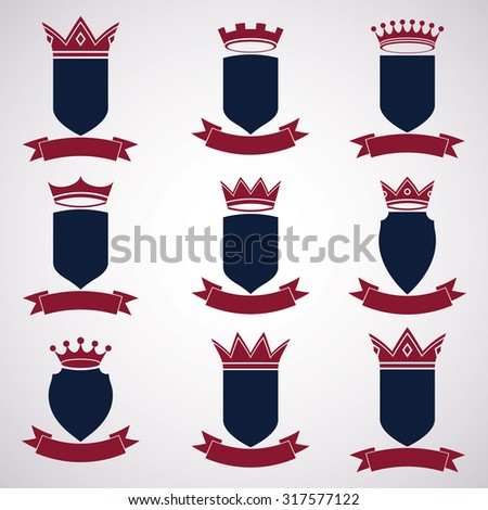 Collection of empire design elements. Heraldic royal coronet illustration, imperial decorative coat of arms. Set of luxury vector shields with king red crown and undulate festive ribbon. - stock vector