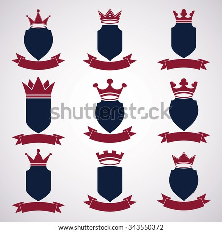 Collection of empire design elements. Heraldic royal coronet illustration, imperial striped decorative coat of arms. Set of luxury vector shields with king red crown and wavy festive ribbon. - stock vector
