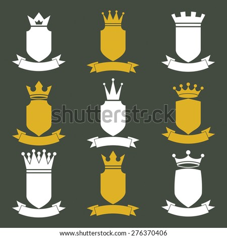 Collection of empire design elements. Heraldic royal coronet illustration. Set of luxury vector shields with king crown and undulate festive ribbon.  - stock vector