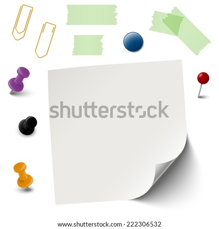 collection of empty paper with office accessories vector - stock vector