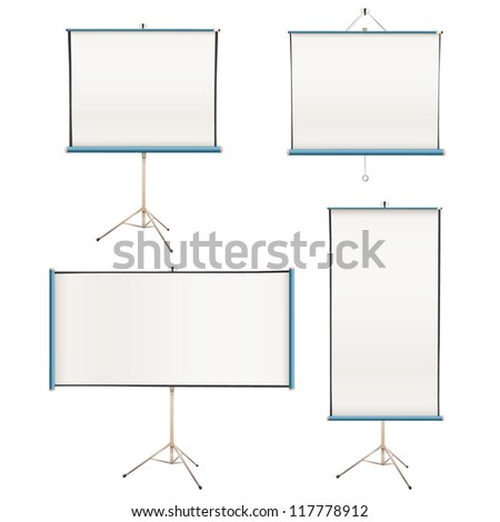 Collection of empty projector screens isolated on white. Vector design. - stock vector