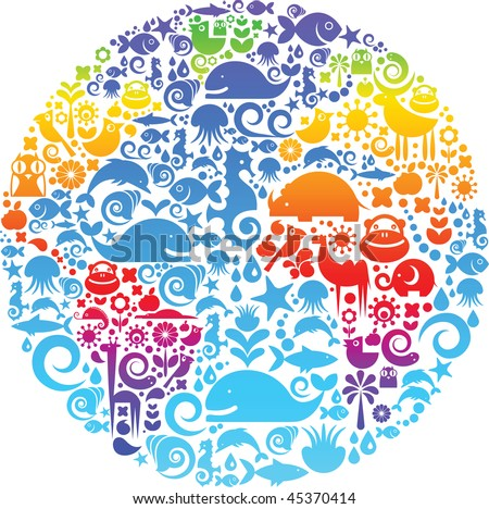 Collection of environmental signs and symbols on a background of colorful Earth - stock vector