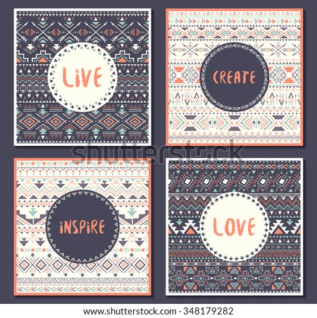 Collection of ethnic cards with motivational words: live, love, create, inspire. Posters with aztec design. Tribal seamless patterns with text. Vector illustration. - stock vector