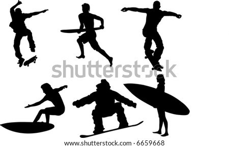 collection of extreme sport silhouette