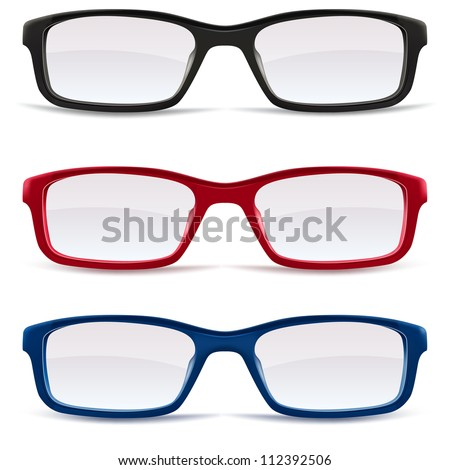 Collection of Eyeglasses, black, red and blue isolated on white background, illustration - stock vector