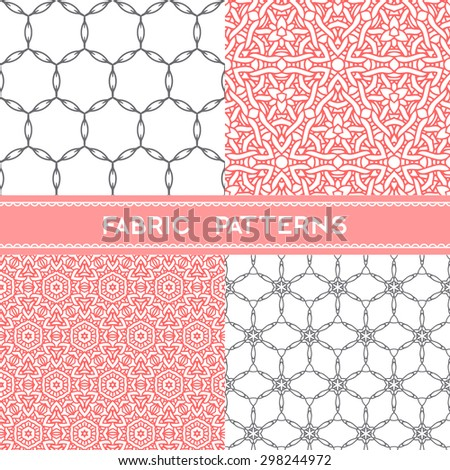 Collection of fabric patterns, seamless  textile patterns