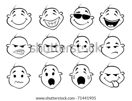 collection of  facial expressions - stock vector
