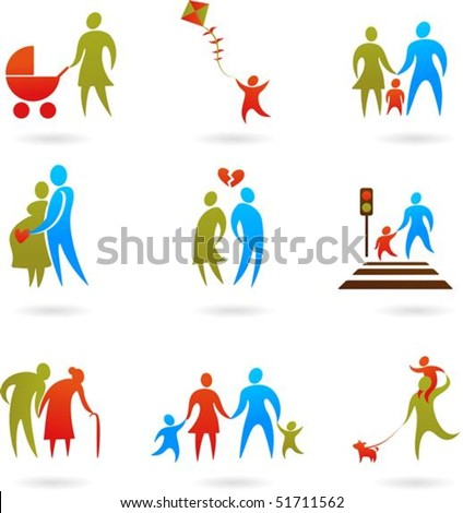 Collection of family icons - stock vector