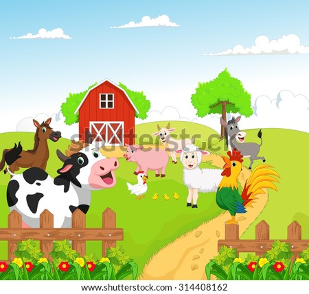 collection of farm animals with background - stock vector
