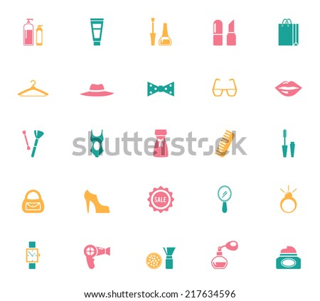 Collection of Fashion and Shopping Illustration Icons - stock vector