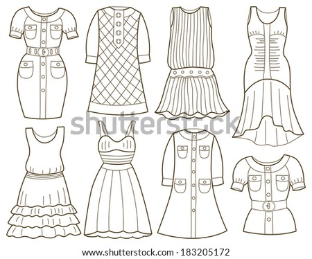 Coloring Book For Fashion : Vector paper doll young beautiful girl stock 569246368