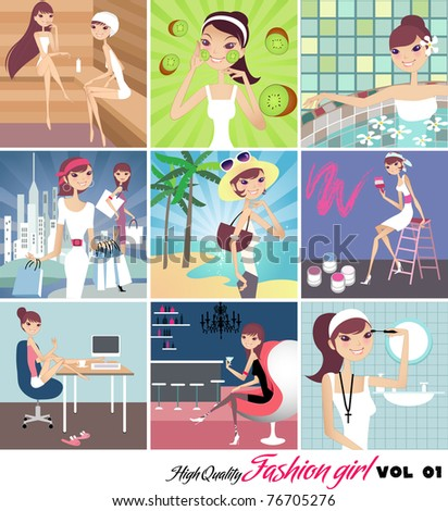 collection of fashion girl - stock vector