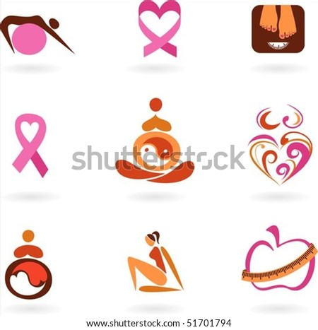 Collection of female health awareness and prevention icons - stock vector