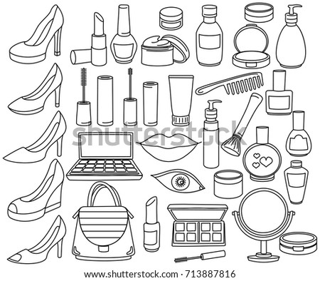 Collection of female stuff sketches. Fashion Make-up Set. Cosmetics, Lipstick, Mascara, Powder, Shoes, Eye shadow, Brushes, Perfume, Cream and Nail polish