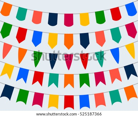 Collection of festive decorative flags for the holiday on a whit