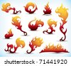 collection of fiery design elements - stock vector