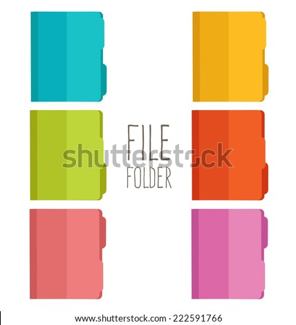 Collection of file folder  - stock vector