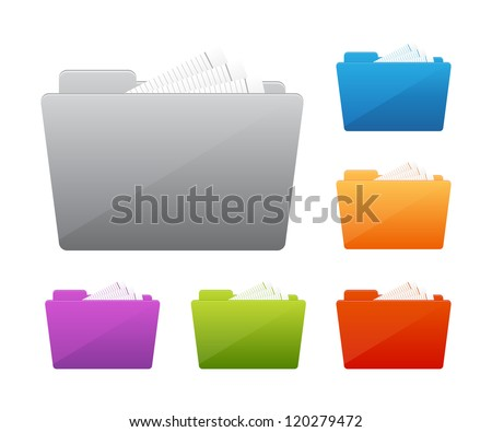Collection of file folders icons - stock vector