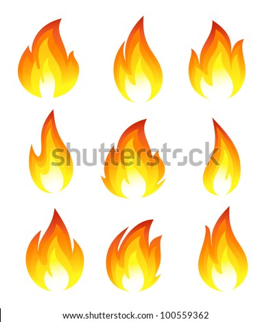 Collection of fire icons - stock vector