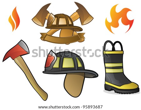 Collection of Firefighter/Fireman Symbols, Icons, and Objects - stock vector