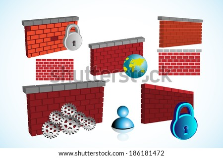 Collection of Firewall symbol and this can be used in building networking images - stock vector