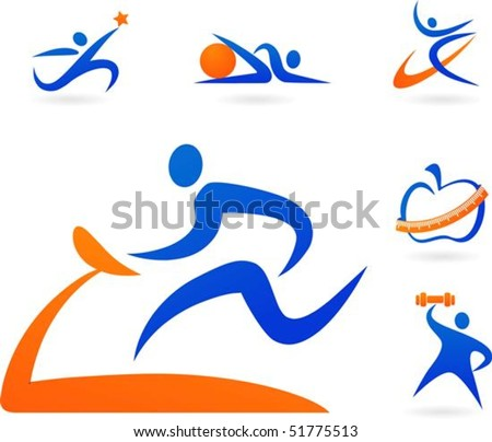 Collection of fitness icons - stock vector