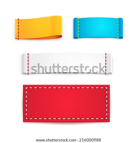 Collection Five Colorful Blank Labels Badges Vector – Label