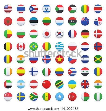 Collection of flag button design. Vector design. - stock vector