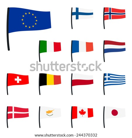 collection of flags eu, switzerland, italy - stock vector