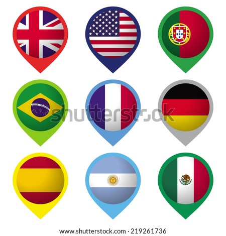 Collection of 9 flags, presented as location marks. Ai10 EPS vector illustration with global colors. - stock vector