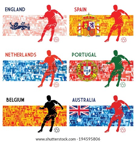 Collection of flags - soccer/football - stock vector
