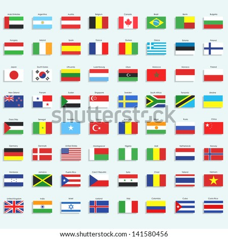 Collection of flags. Vector design. - stock vector