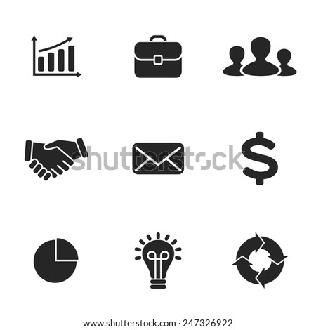 Collection of flat business icons. Can be used for finance project, office work, people communication, success of project, infographic or presentation. - stock vector