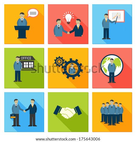 Collection of flat business people meeting at office conference presentation pictograms vector illustration - stock vector