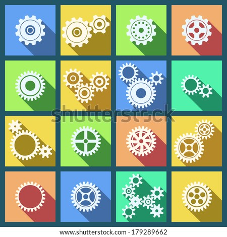 Collection of flat cogs wheels and gears icons set isolated vector illustration - stock vector