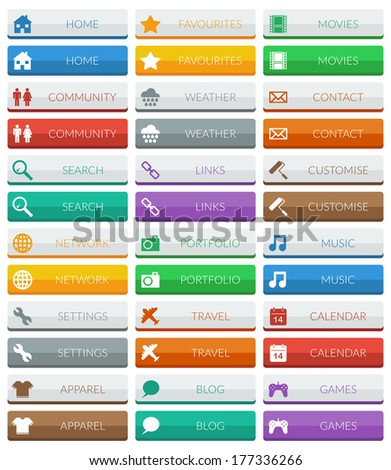 collection of flat color modern web buttons, 2 variations isolated on white