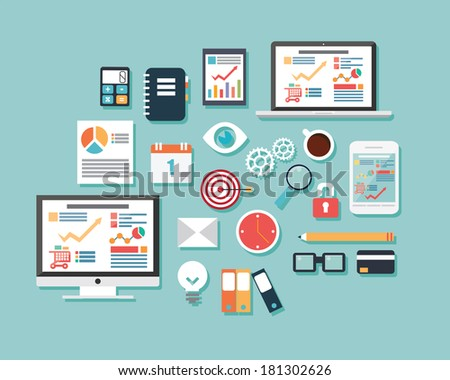 Collection of flat design icons, computer and mobile devices, cloud computing, communication, vector illustration - stock vector
