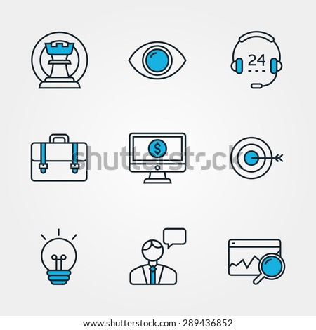 Collection Of Flat Design Line Icons For Business. Icons Of Strategy, Vision, Support, Career, E-commerce, Mission, Solution, Consulting, Analysis. Icons For Websites And Mobile Apps. - stock vector