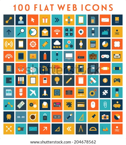 Collection of Flat Design Web Icons. Technology, Mobile Communication, Business and Marketing Elements. May be used for Application UX and UI Design. - stock vector