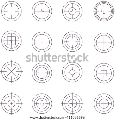 Collection of flat game targets isolated. Crosshair icon. Aim icon. Bullseye sign. Shooting mark set. Target icon. Computer game element, military concept.