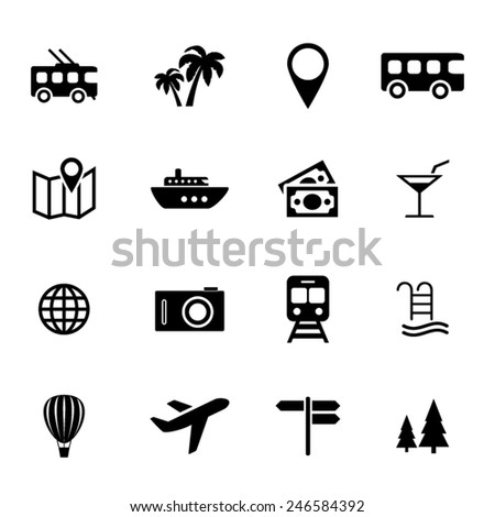 Collection of flat icons - holiday, traveling, transport and vacation - tourism related icons - stock vector